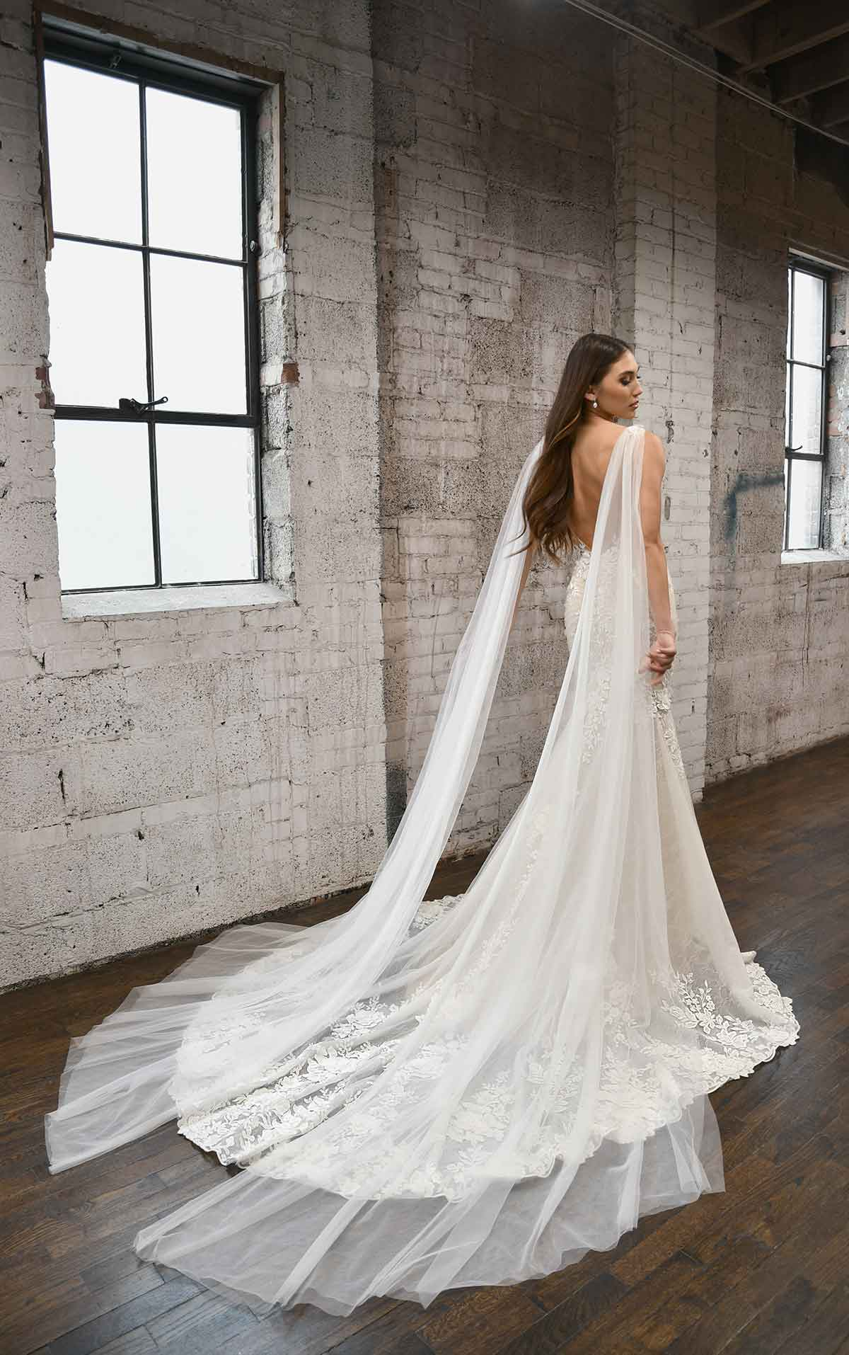 1374 Floral V-Neckline Fit-and-Flare Wedding Dress with Streamers by Martina Liana