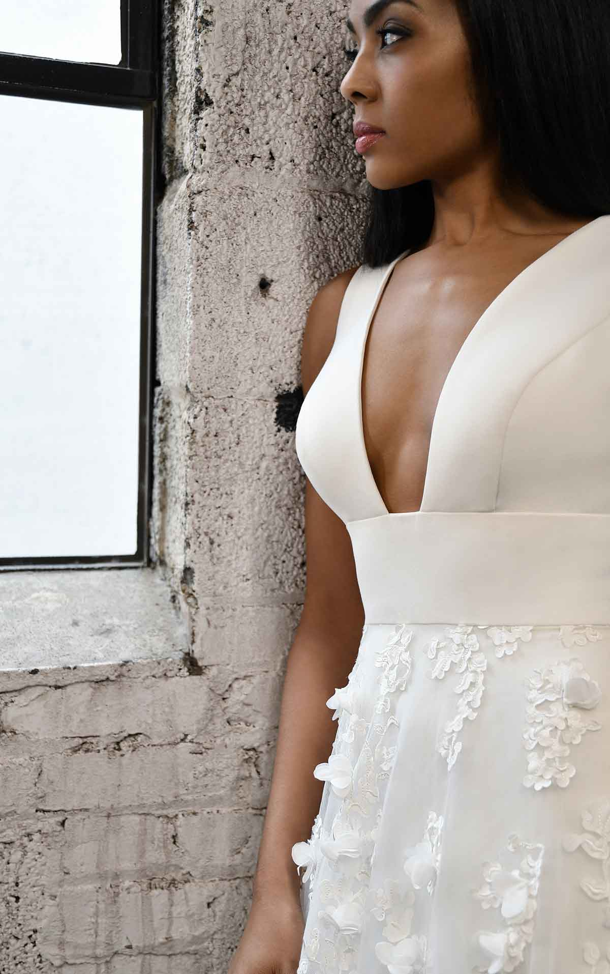 1376 Plunging V-Neckline Wedding Dress with Floral Skirt by Martina Liana