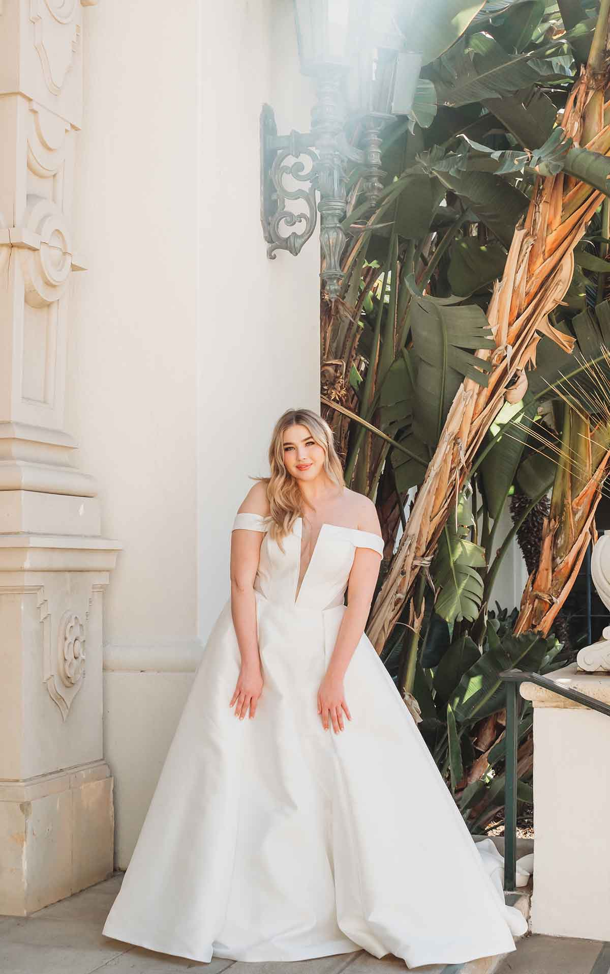 1378+ Simple Plus-Size Ballgown with Cutouts and Sheer Back by Martina Liana