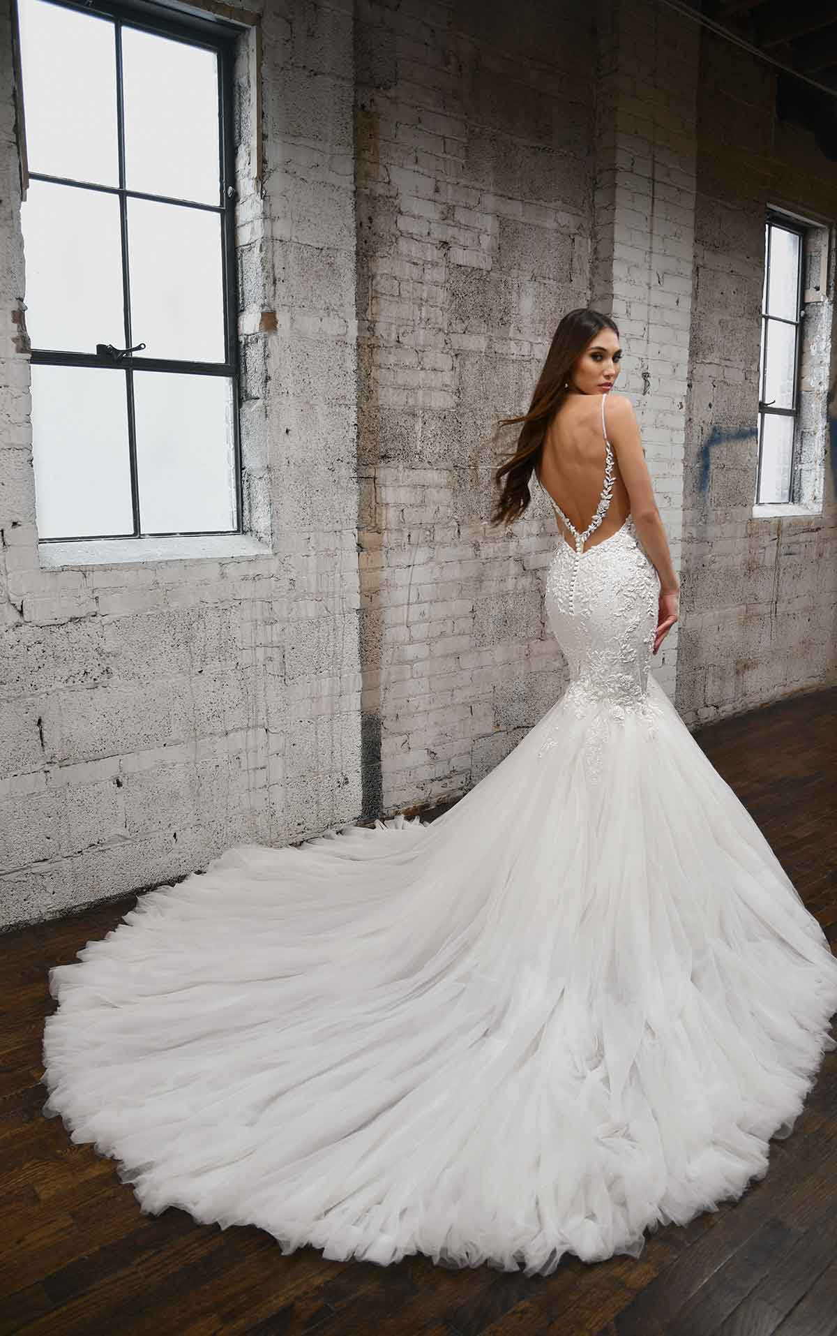 1397 V-Neckline Fit-and-Flare Wedding Dress with Floral Details by Martina Liana