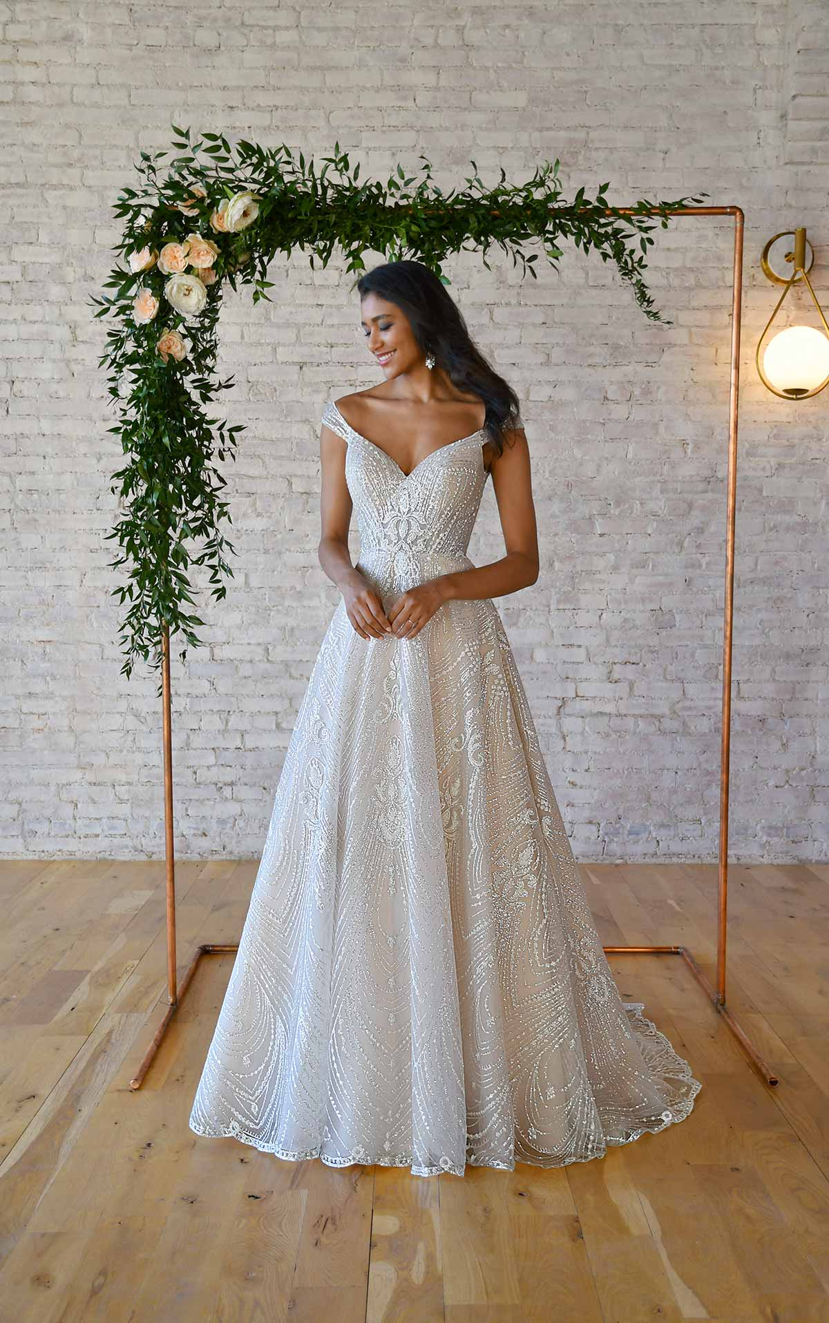 7336 Sparkling A-Line Wedding Dress with Off-the-Shoulder Strap by Stella York