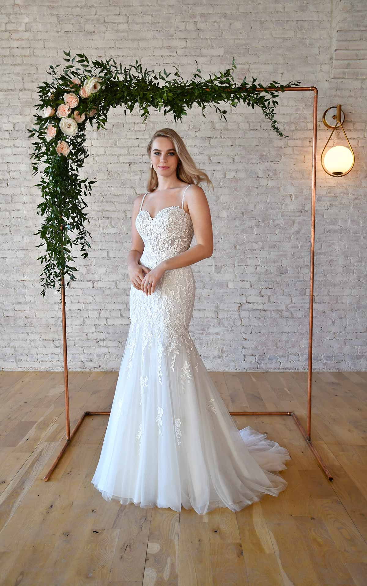 7337 Lace Fit-and-Flare Sweetheart Neckline Wedding Dress with Delicate Straps by Stella York