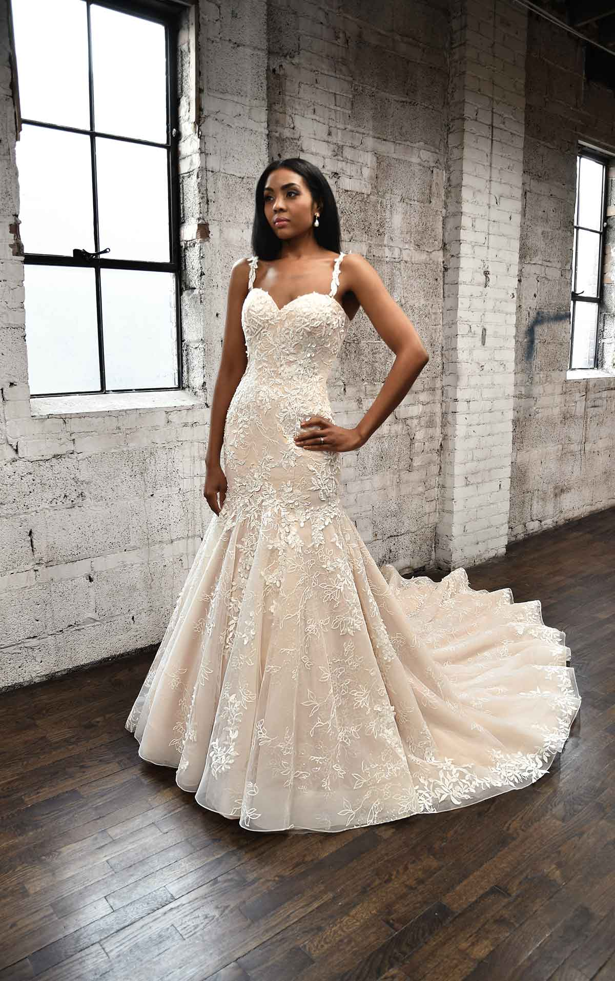 1375 Plunging V-Neckline Wedding Dress with Floral Skirt by Martina Liana
